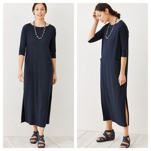 Pure Jill Navy Curved Seam 2 Pocket Midi Dress